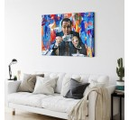 The wolf of wall street in a modern canvas art with blue colors
