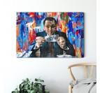 Salon moderne avec le tableau contemporain du loup de Wall Street