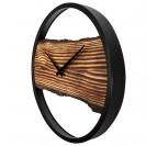 Horloge murale moderne avec un cercle noir et un bois central pour votre décoration intérieure
