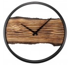 Modern wall clock with a touch of wood and black colors