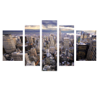 Design canvas art of New York in five panels