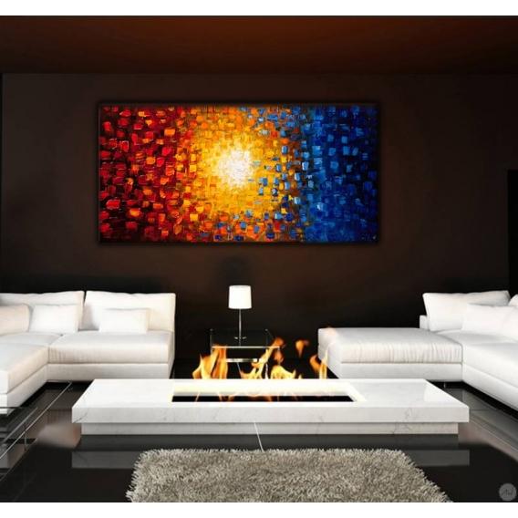 Soleil de couleur tableau peinture