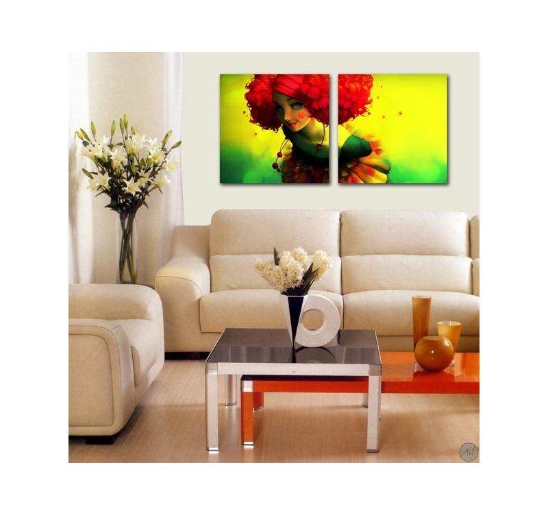tableau contemporain femme fleur artwall and co. Black Bedroom Furniture Sets. Home Design Ideas