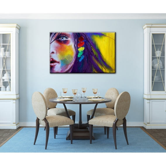 Colorful woman decorative art print artwall and co - Tableau sur mur blanc ...