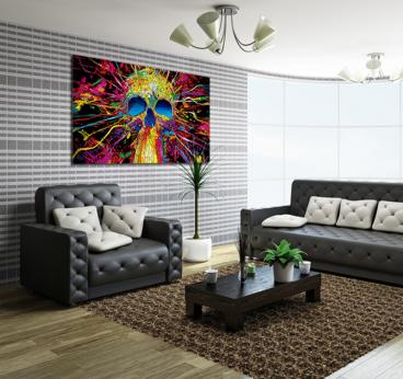 Tableau pop art d'un crâne ultra coloré en deco murale