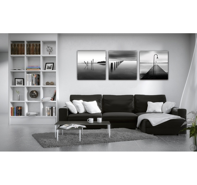 Black and white ocean modern triptych artwall and co - Tableau noir et blanc ikea ...