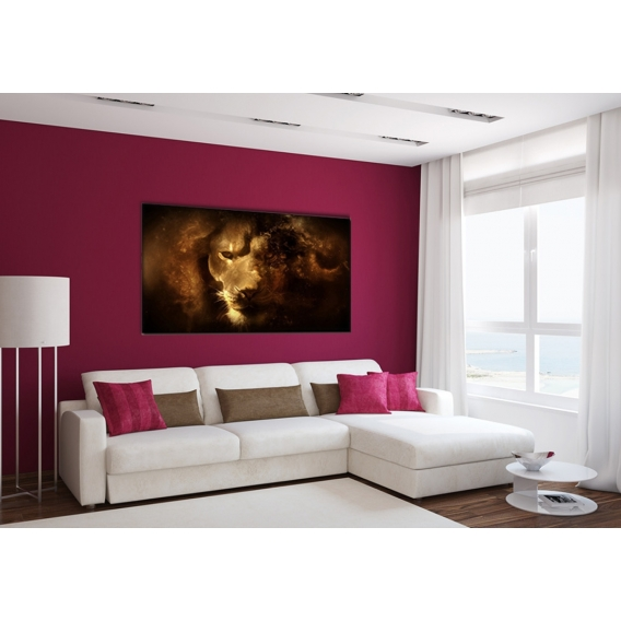 Dark Lion Modern Art Print