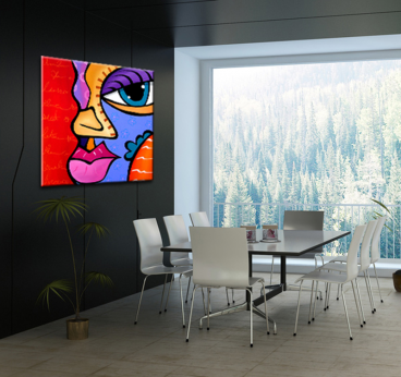 Pop art canvas print of a girl in a modern wall decoration