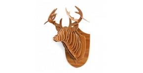 Trophee tetes d'animaux en bois