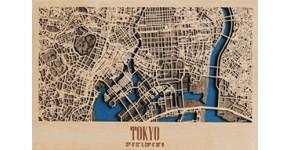 Wood wall decoration city map