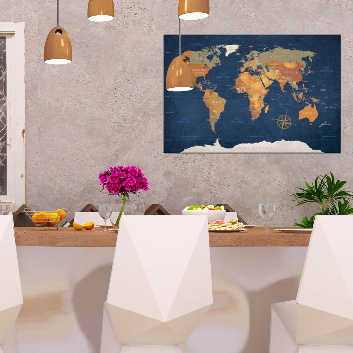 world map blue ocean on design wall canvas for a stylish interior
