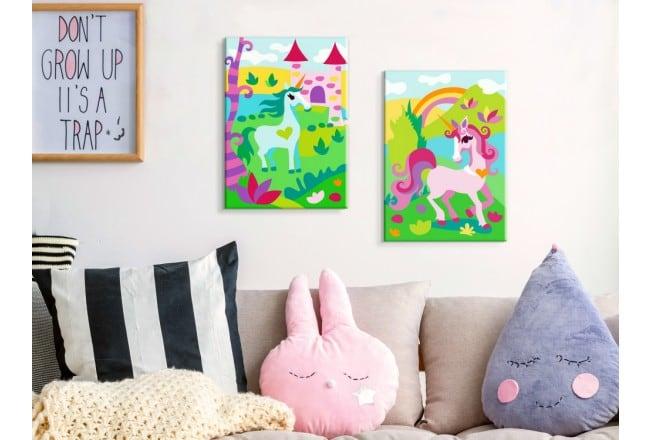 Tableau à peindre pour enfant d'animaux magiques pour une déco murale originale