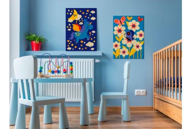 Tableau à peindre par numéro pour enfant de papillons et fleurs colorées