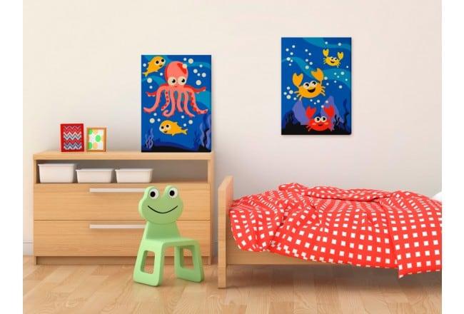 Tableau à peindre par numéros de l'océan pour une déco murale d'enfant