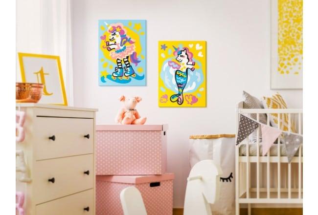 Tableau à peindre pour enfant avec des licornes en couleur pour leur déco murale