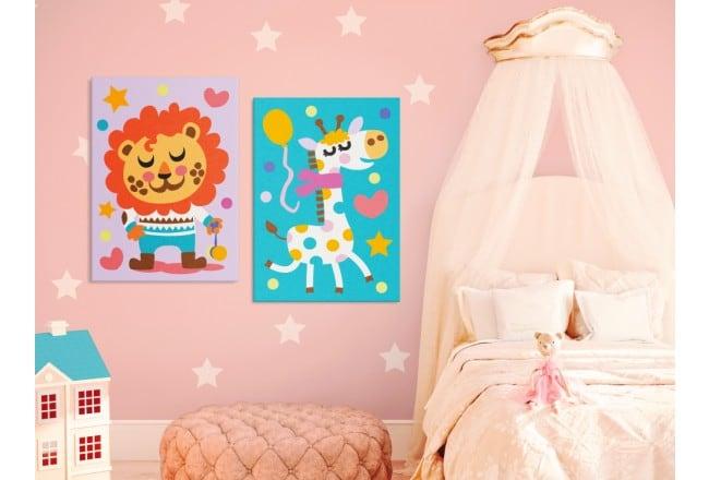 Tableau à peindre pour enfant de lion et girafe pour une déco murale rigolote