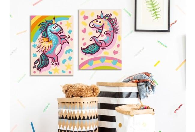 Peinture par numéros de licornes en deux cadres pour la décoration murale de vos enfants