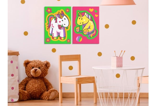 Tableau à peindre par numéro de licornes pour une décoration murale de chambre colorée
