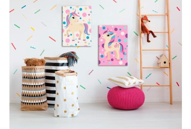 Tableau à peindre pour enfant de licornes roses pour leur déco murale de chambre