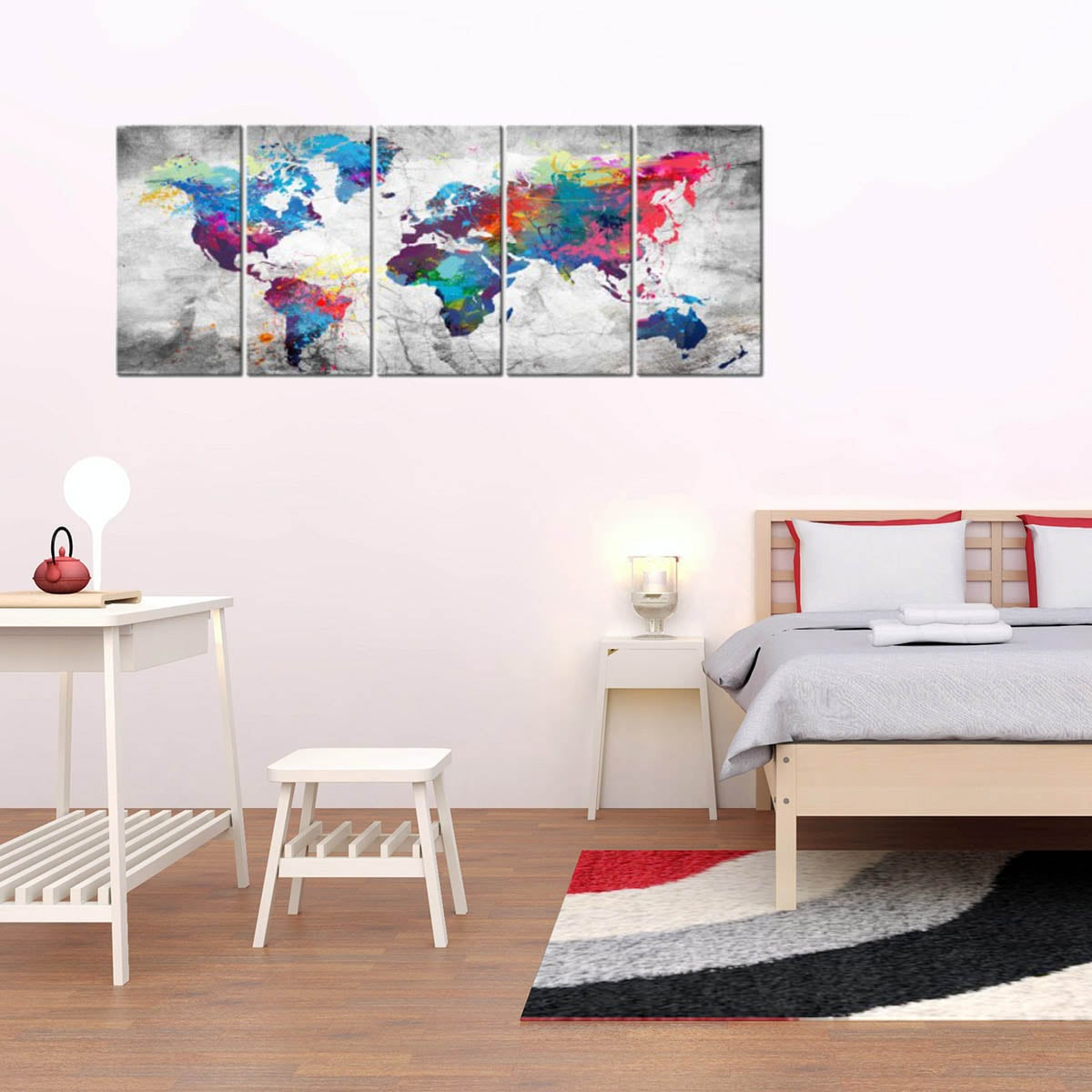 Big wall canvas print of the world map for a modern decoration in grey