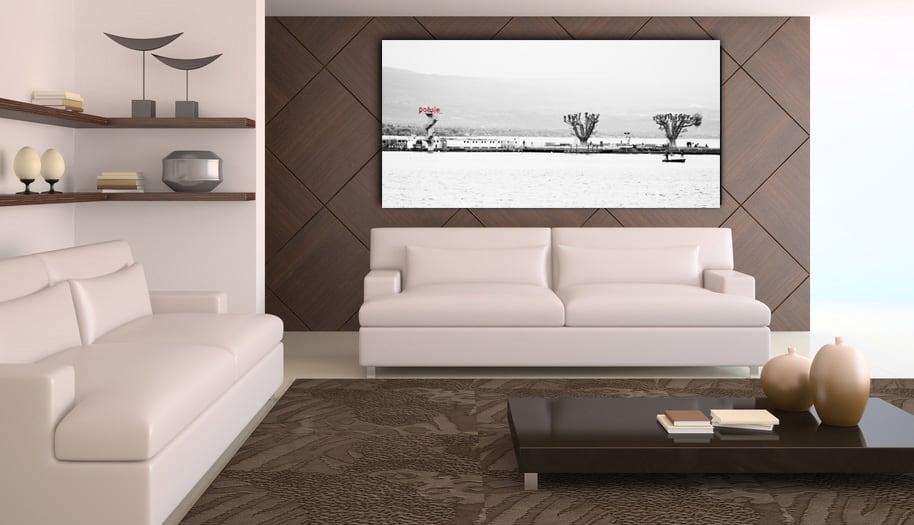 Présentation de la photo d'art Lac Léman dans un salon design