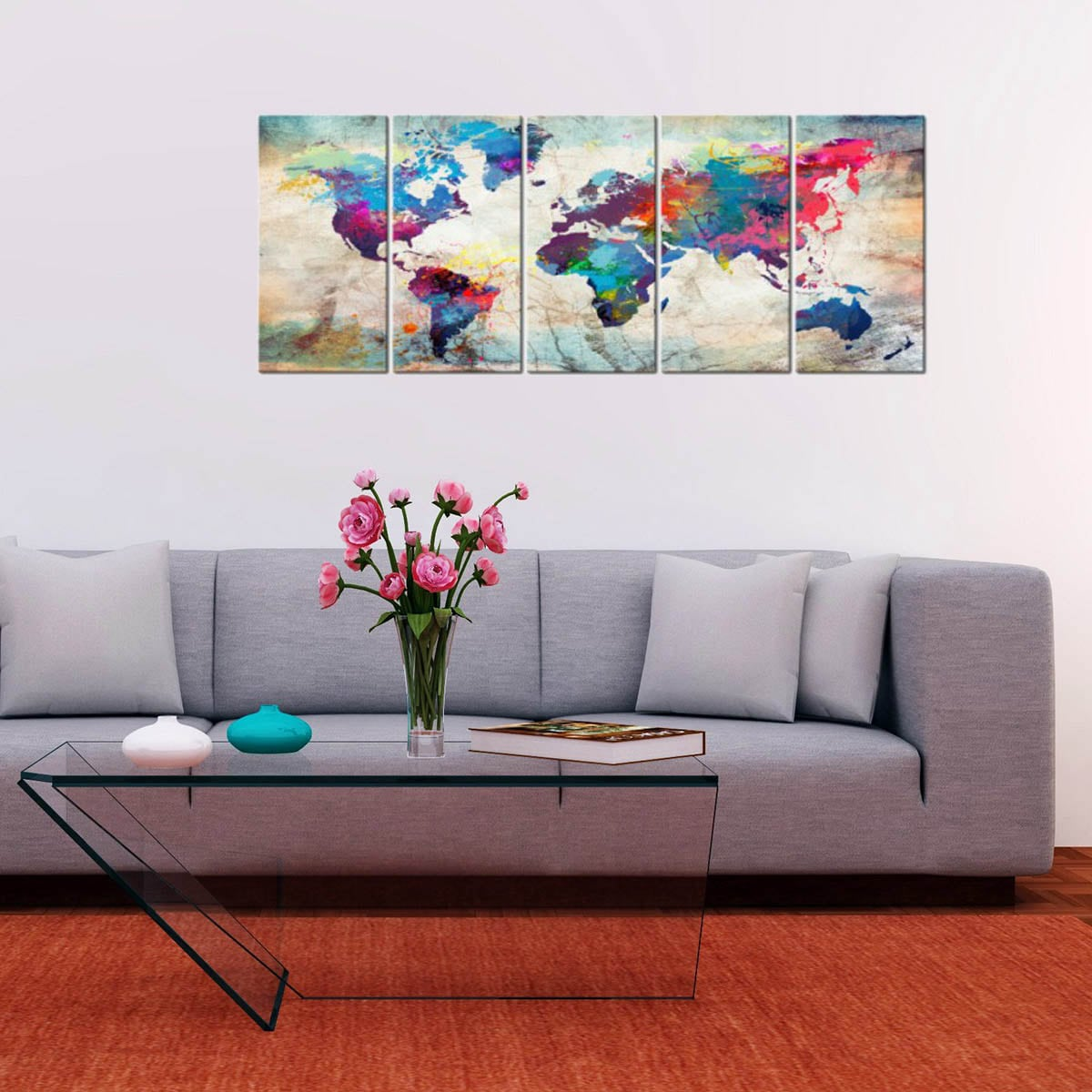 big wall art canvas of the world map for an unique interior decoration