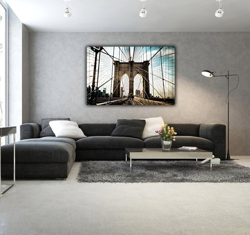 Art photography of Brooklyn Bridge on a aluminium canvas