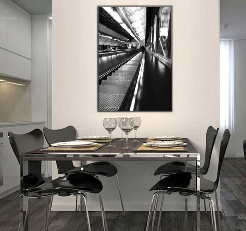 A beautiful escalator on a luxury photography to decorate your interior with an abstract touch