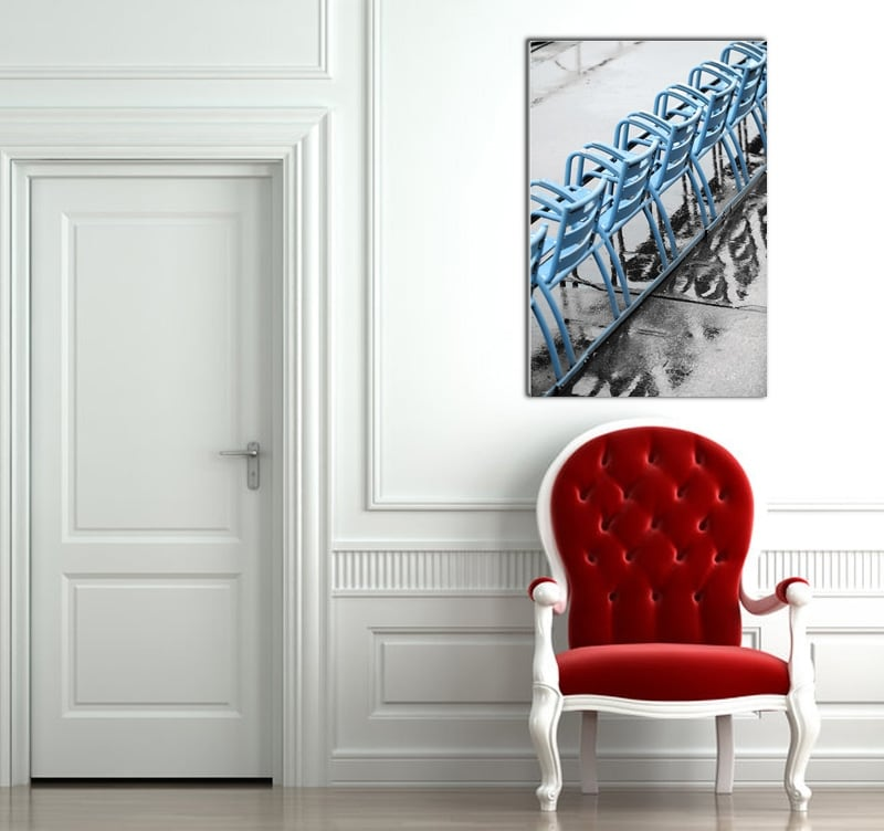 The blue chairs of Nice in france on a design picture printed on aluminium for luxury interior