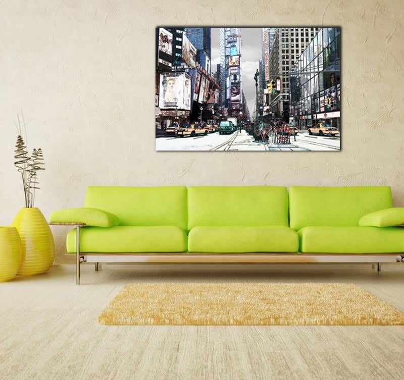 Famous street of New York on a design frame for a modern decoration