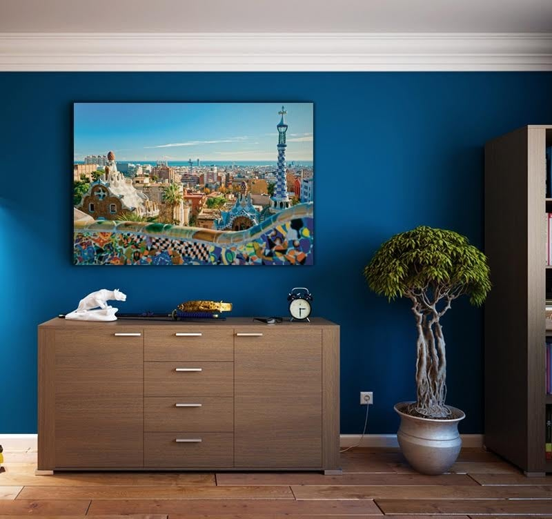 A beautiful view of Barcelona with this modern landscape canvas for decoration