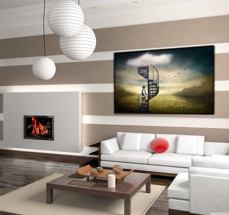 Tableau photo d'art d'un enfant perdu au milieu d'un champs avec un escalier imaginaire pour votre décoration intérieure