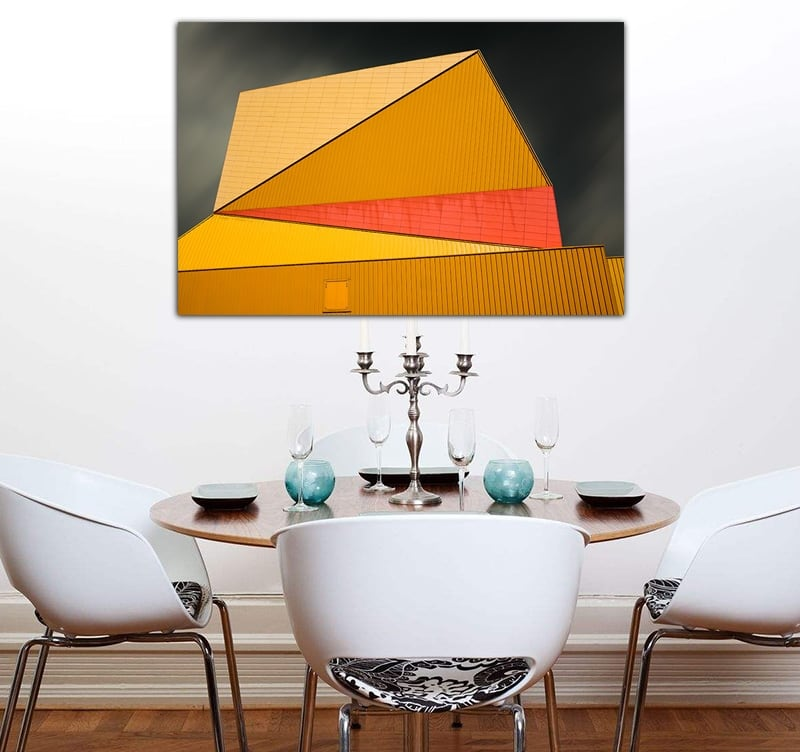 Tableau photo d'art avec une couleur orange et une architecture design