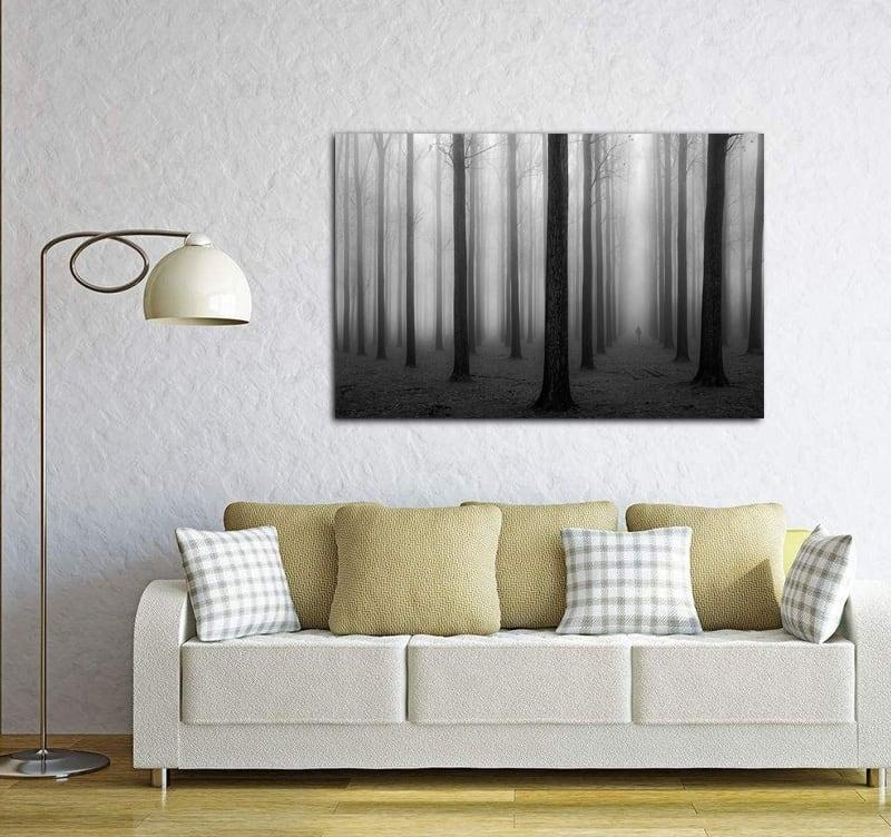Tableau déco aluminium d'une forêt avec un air fantomatique pour votre décoration intérieure