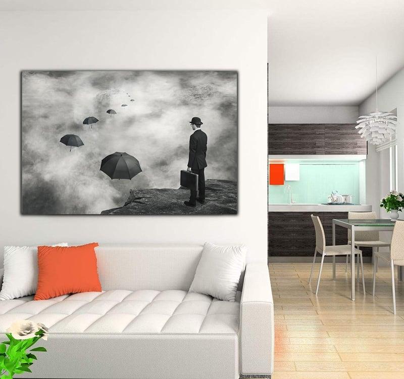 Tableau photo d'art abstraite d'un chemin de parapluies flottant dans le ciel