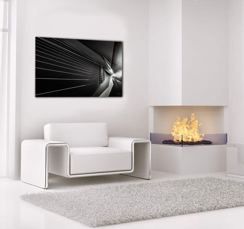 Design art photo on aluminum of a modern bridge to decorate your home with a  piece of art