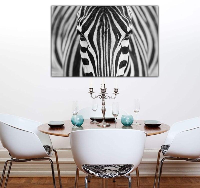 Magnifique tableau déco sur aluminium d'un zèbre en mode portrait