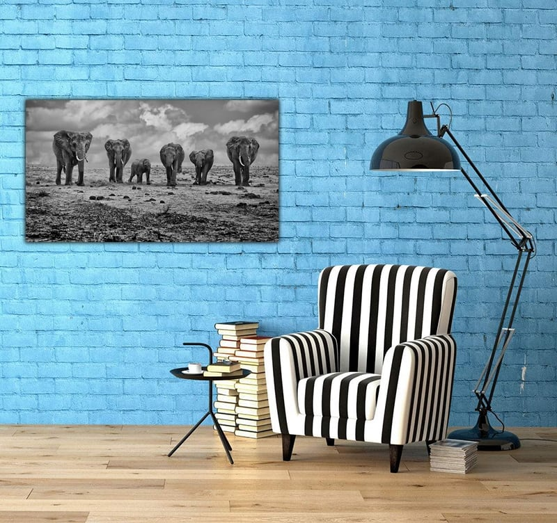 Contemporary Art Photo of an elephant group for decoration