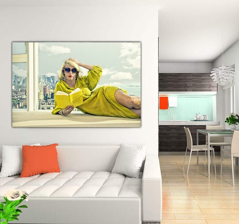 Yellow art photo of a fashion woman to decorate your wall with art