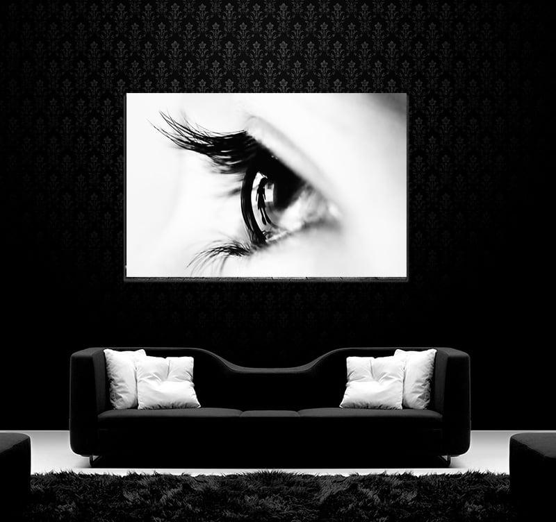 Contemporary art photo on aluminium of an eye for wall decoration