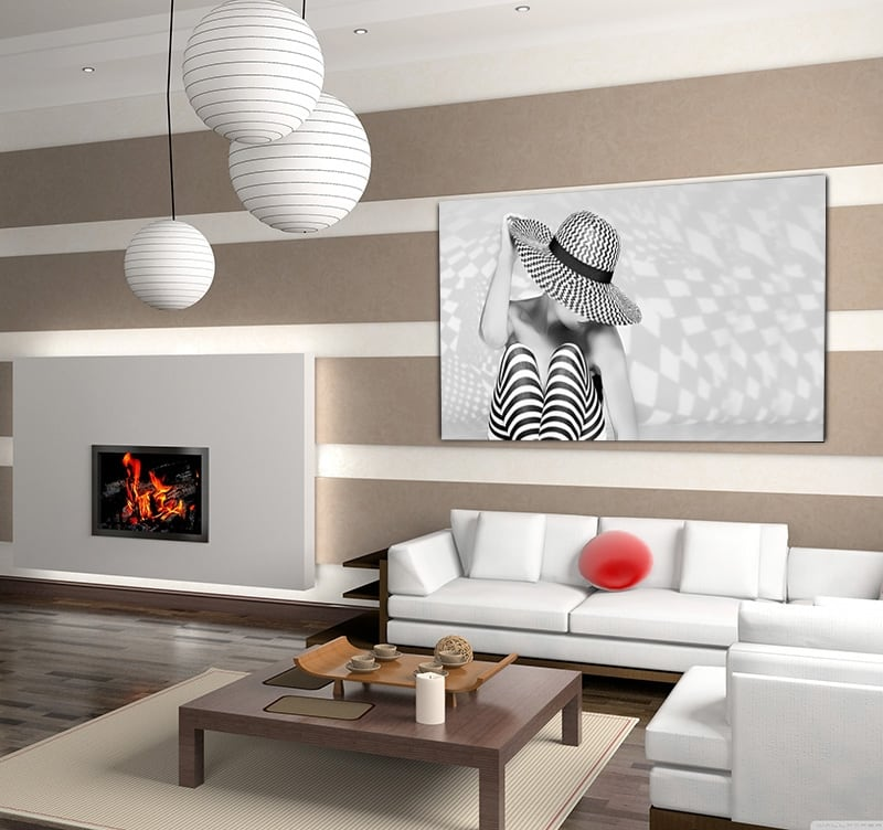 Black and white art photo of a woman with a beautiful hat for wall decoration