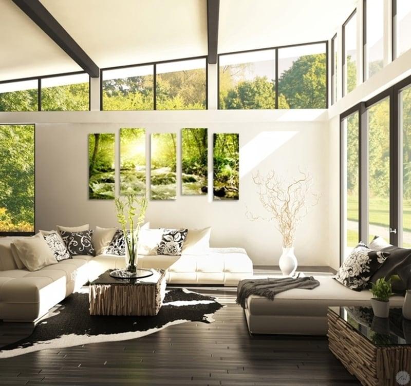 Tableau moderne d'une rivière coulant le long de la forêt pour décorer votre intérieur de façon design et moderne avec ce cadre mural