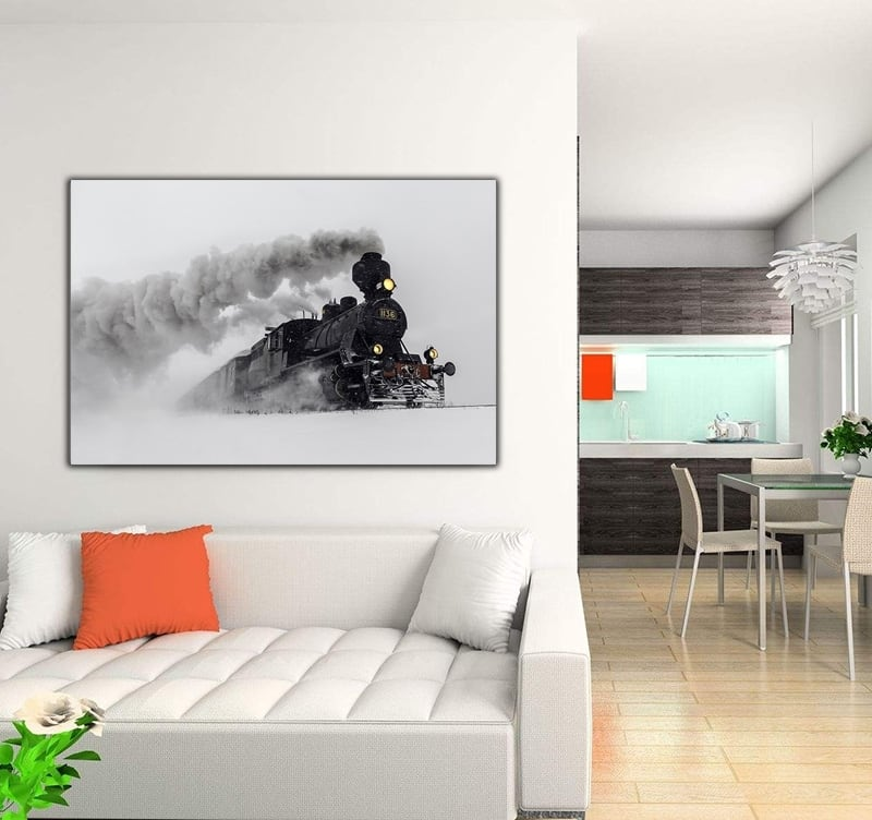 Design art photo of a train into the snow for an art decoration for your wall