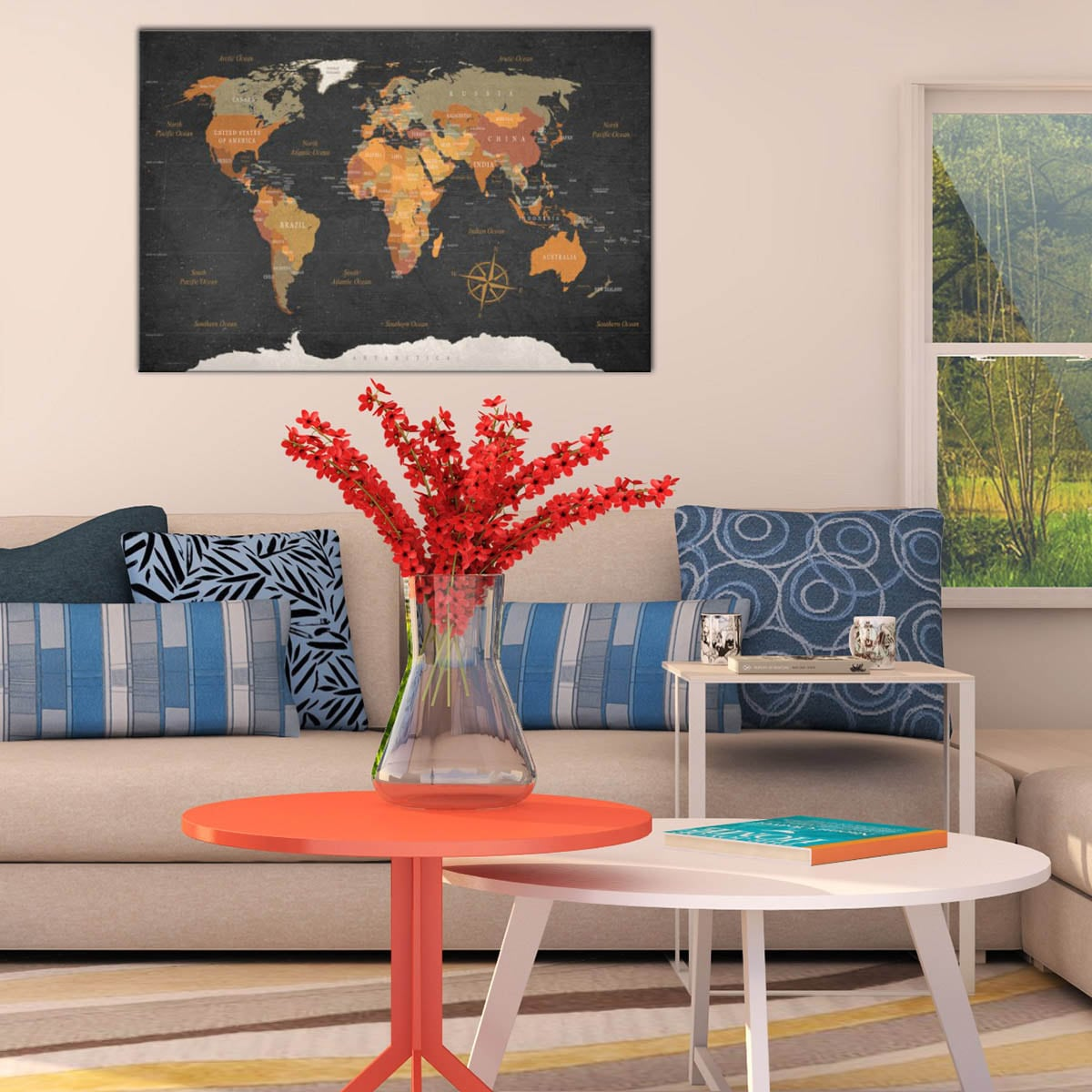 modern world map on canvas print for an unique interior decoration for travellers