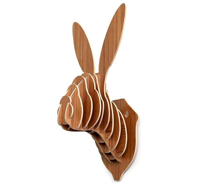 Wood wall decoration of a rabbit for a design interior with a nature touch