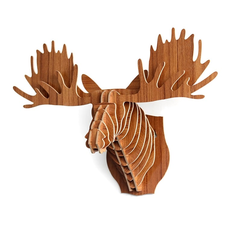 Wall decoration trophy of a young elk for a contemporary interior decoration