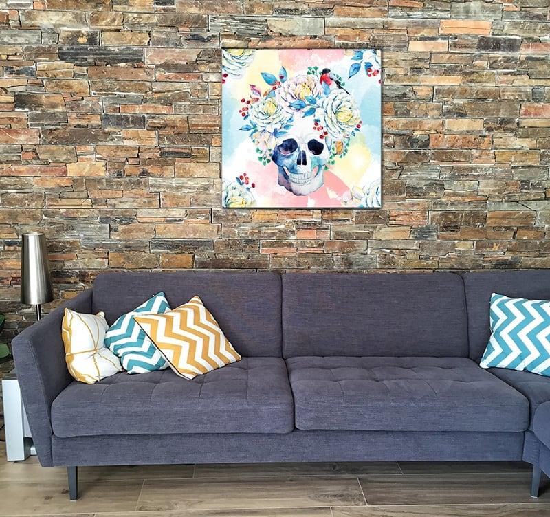 Tableau tendance crane mexicain aux fleurs colorées pour votre décoration murale