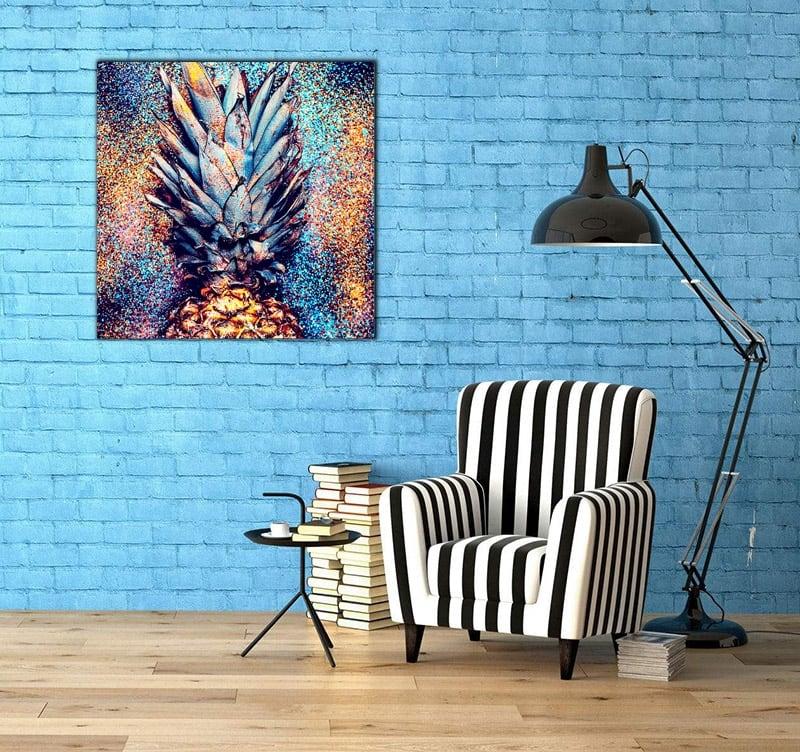 Tableau pop art d'un ananas imprimé sur toile déco pour un mur tendance