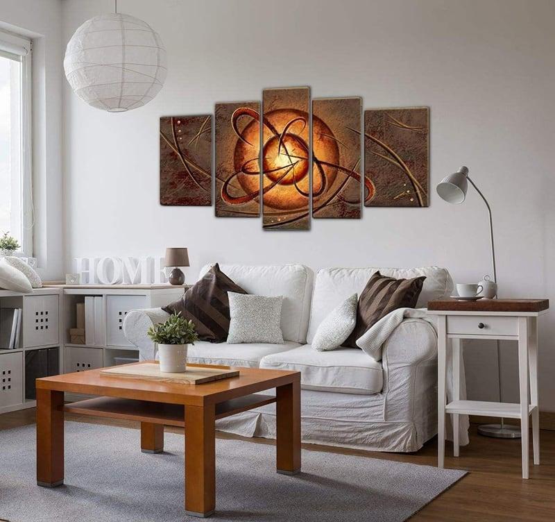 Tableau africain peinture en plusieurs panneaux afin de décorer vos murs avec un cadre ethnique