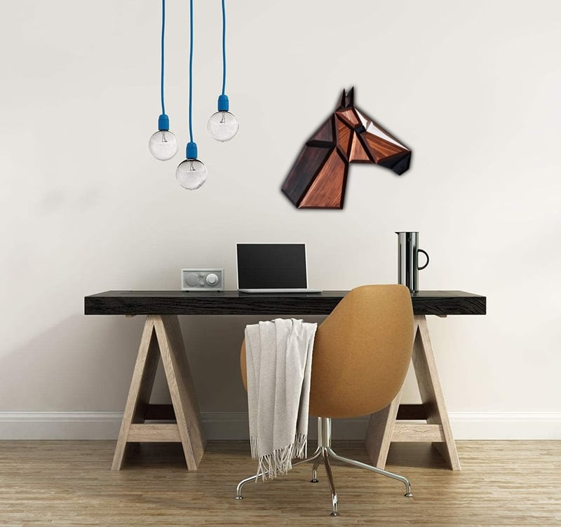 Modern wood wall decoration of a horse for a child room